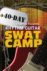 Extensive hands-on exploration of classic and modern rhythm guitar styles