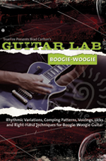 Rhythmic variations, comping patterns, voicings, licks and right-hand techniques for boogie-woogie guitar