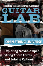 Explore moveable open string chord forms and soloing options