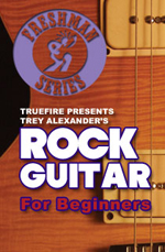 Learn to play electric rock guitar riffs, chords and rhythms