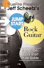 A quick, easy, fun and interactive approach for learning how to play rock guitar